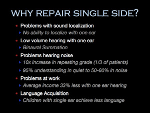 Why repair single sided hearing loss
